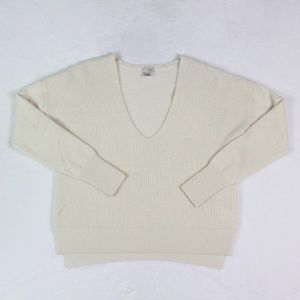 Halogen Sweater V-Neck 100% Cashmere Long Sleeve